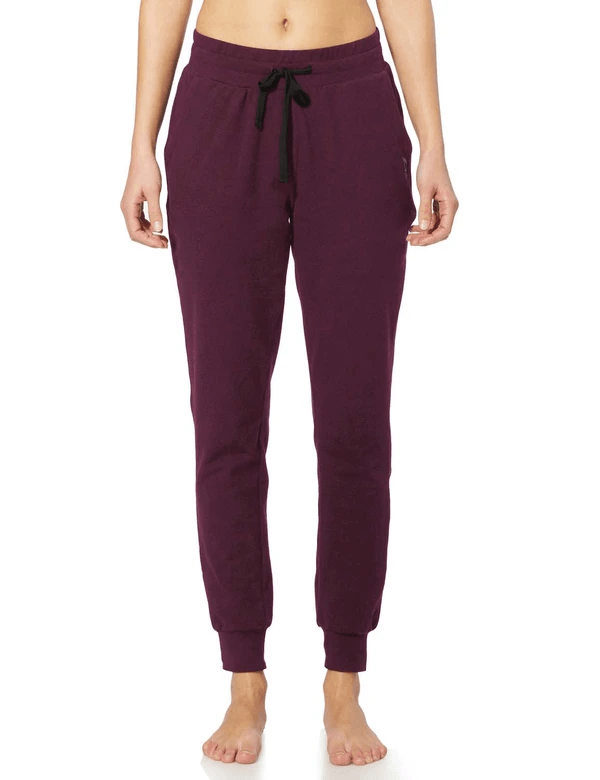 female cotton comfy pocketed & tapered weekend joggers age group adult Clothing baleaf Burgundy XS