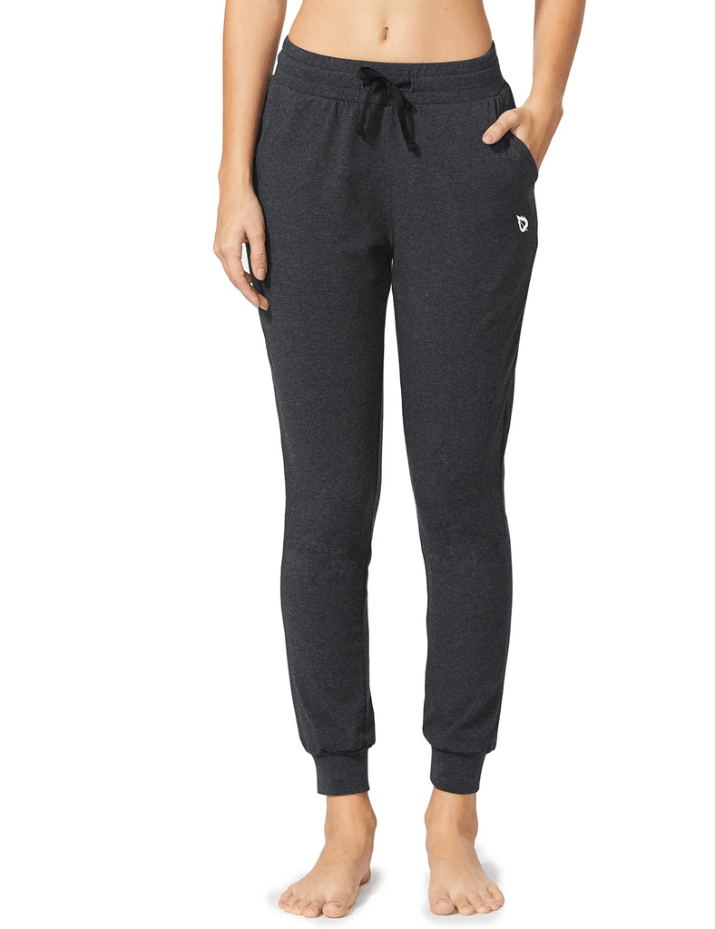 female cotton comfy pocketed & tapered weekend joggers age group adult Clothing baleaf Charcoal XS