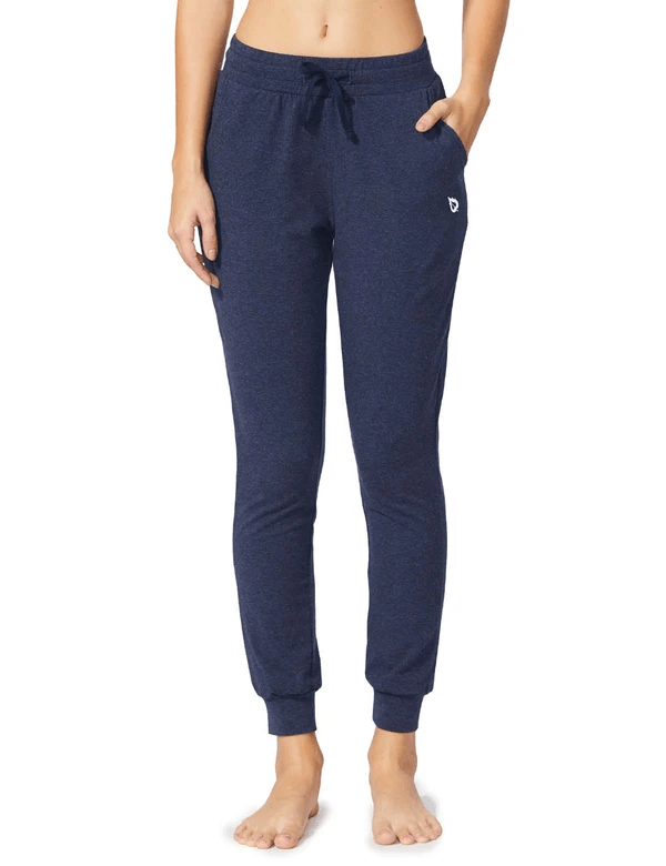 female cotton comfy pocketed & tapered weekend joggers age group adult Clothing baleaf Navy Heather XS
