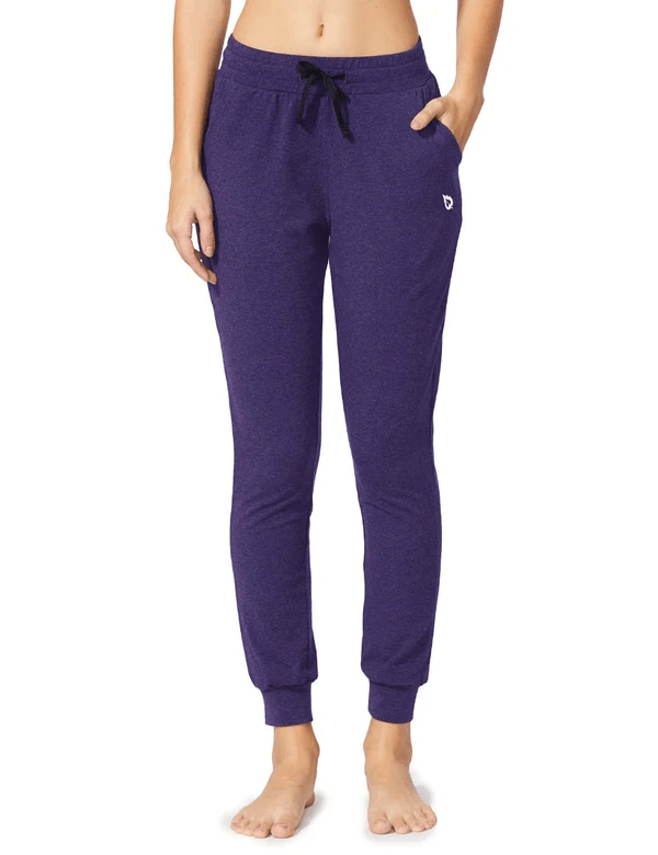 female cotton comfy pocketed & tapered weekend joggers age group adult Clothing baleaf Purple Heather XS
