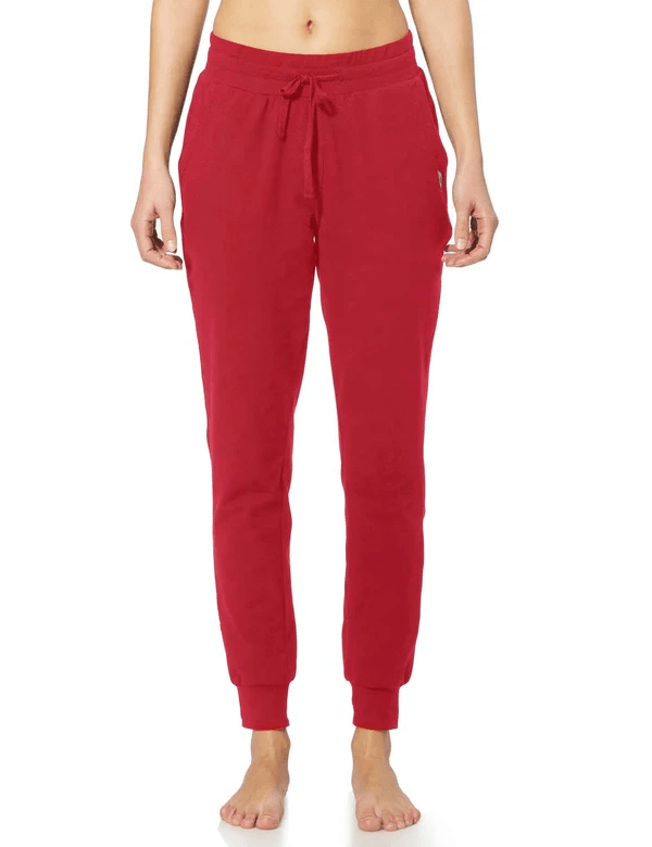 female cotton comfy pocketed & tapered weekend joggers age group adult Clothing baleaf Rose Red XS