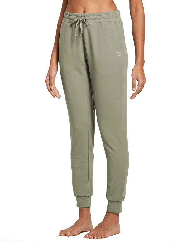 female cotton comfy pocketed & tapered weekend joggers age group adult Clothing baleaf Spray Green XS