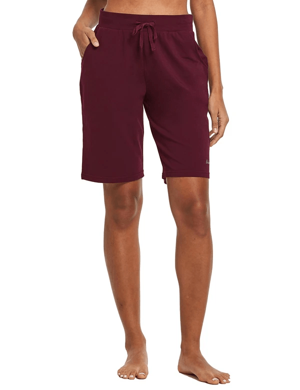 female cotton straight leg pocketed weekend bermuda shorts age group adult Clothing baleaf Wine Red XS