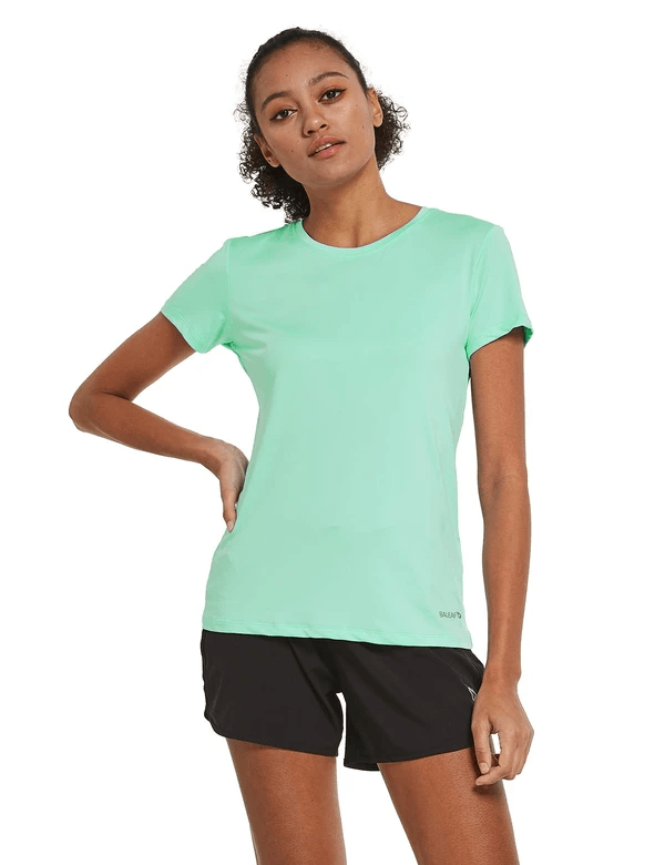 female crew neck comfort fit longer back hem workout t-shirt age group adult Clothing baleaf Aqua S