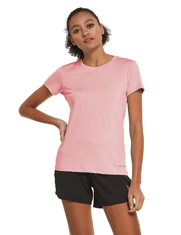 female crew neck comfort fit longer back hem workout t-shirt age group adult Clothing baleaf Pink S