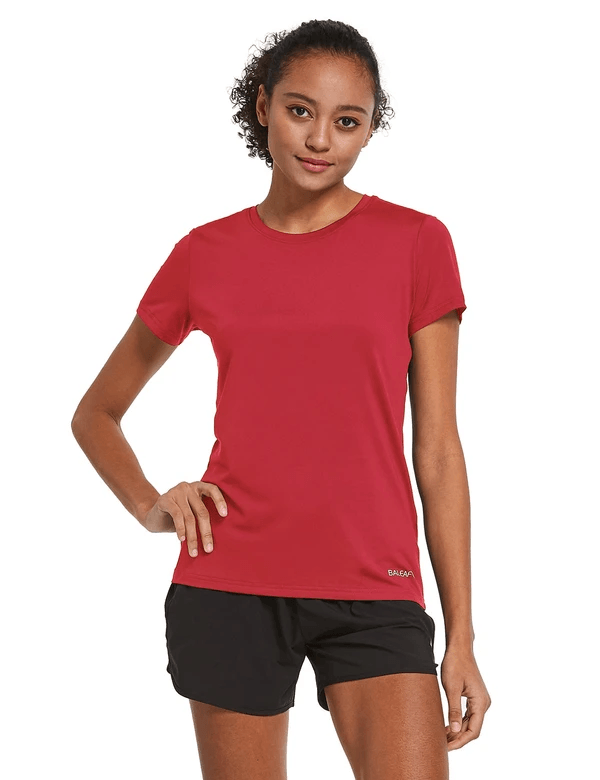 female crew neck comfort fit longer back hem workout t-shirt age group adult Clothing baleaf Red S