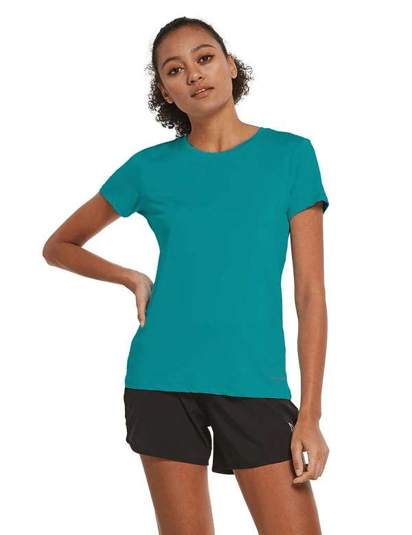 female crew neck comfort fit longer back hem workout t-shirt age group adult Clothing baleaf Teal S