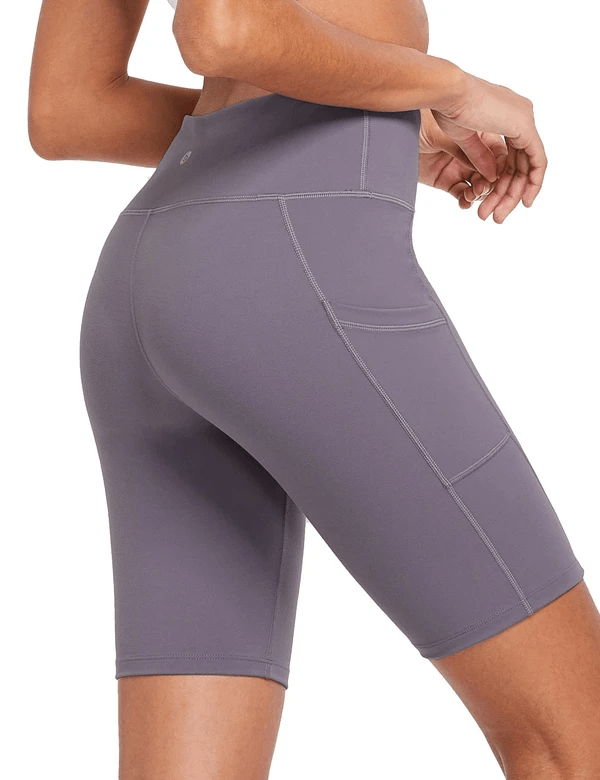 female evo 8'' high-rise non-see-through side pocketed workout shorts age group adult Clothing Lightones