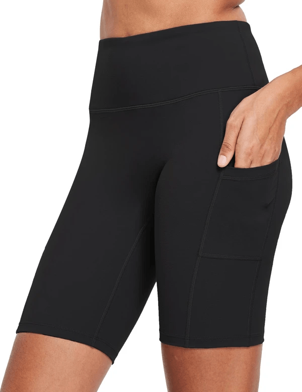 female evo 8'' high-rise non-see-through side pocketed workout shorts age group adult Clothing Lightones Black XS