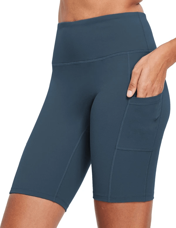 female evo 8'' high-rise non-see-through side pocketed workout shorts age group adult Clothing Lightones Navy XS