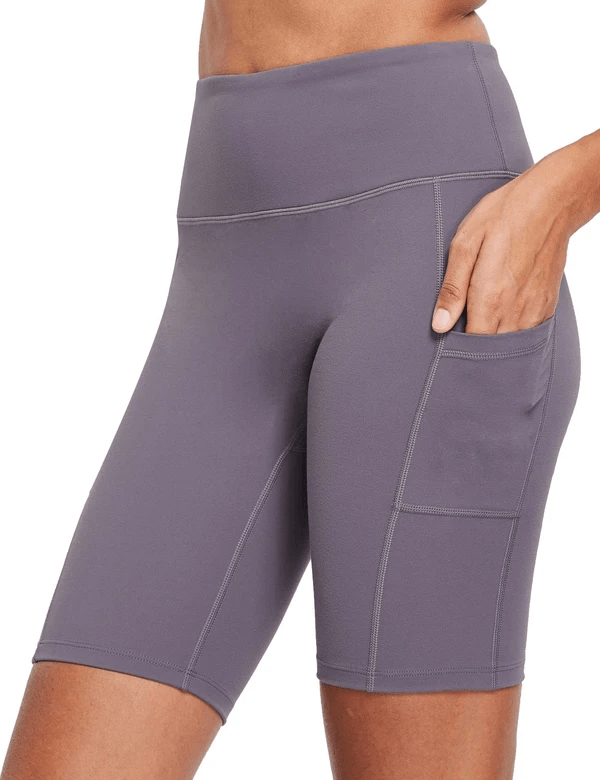 female evo 8'' high-rise non-see-through side pocketed workout shorts age group adult Clothing Lightones Purple XS