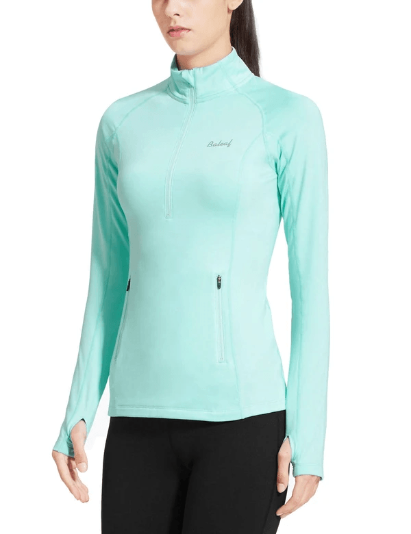 female fleece half zip thumbhole compression long sleeved shirt age group adult Clothing baleaf Aqua XS