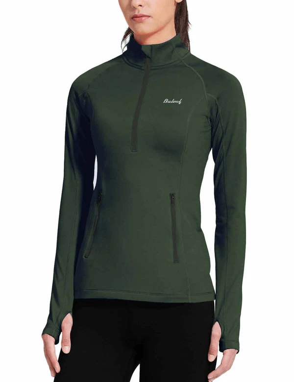 female fleece half zip thumbhole compression long sleeved shirt age group adult Clothing baleaf Army Green XS
