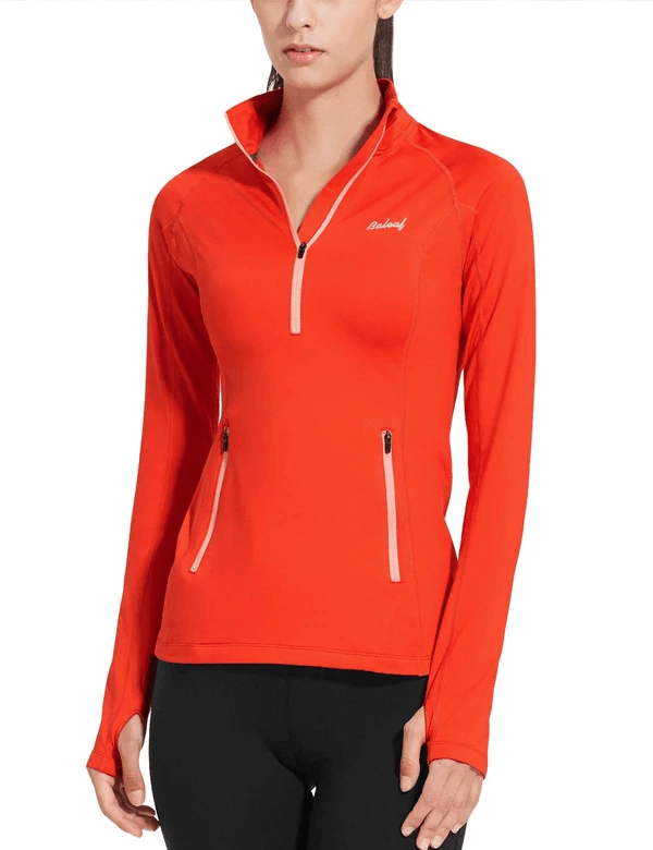 female fleece half zip thumbhole compression long sleeved shirt age group adult Clothing baleaf Coral XS