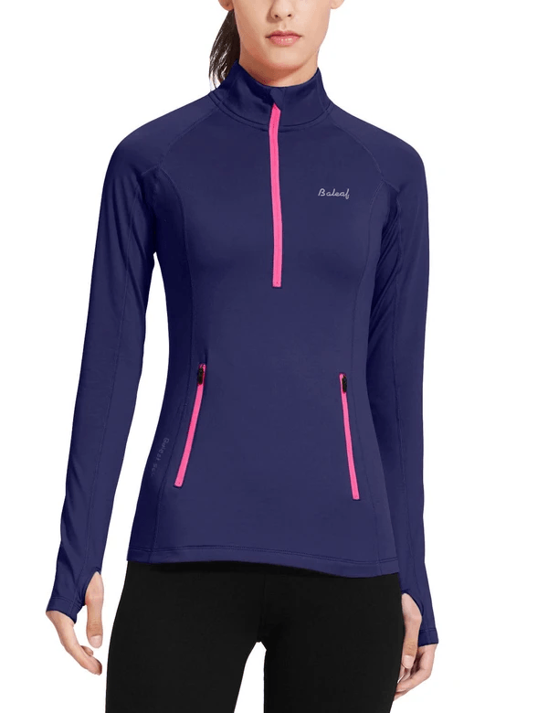 female fleece half zip thumbhole compression long sleeved shirt age group adult Clothing baleaf Navy XS