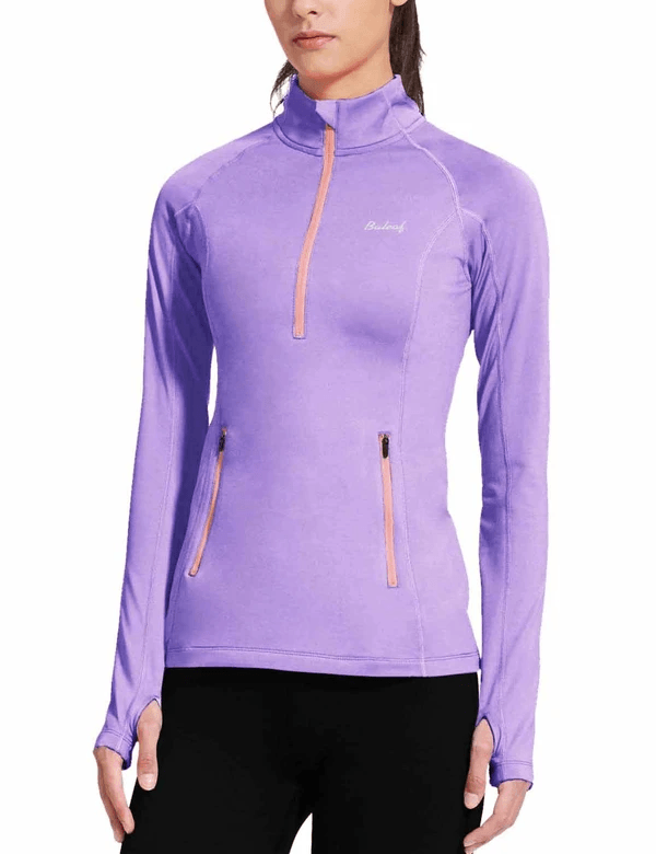 female fleece half zip thumbhole compression long sleeved shirt age group adult Clothing baleaf Purple XS