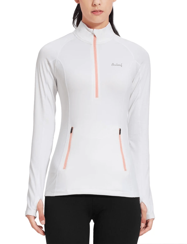 female fleece half zip thumbhole compression long sleeved shirt age group adult Clothing baleaf White XS