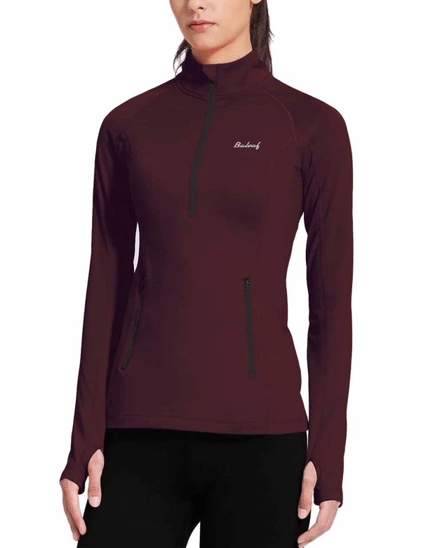 female fleece half zip thumbhole compression long sleeved shirt age group adult Clothing baleaf Wine Red XS