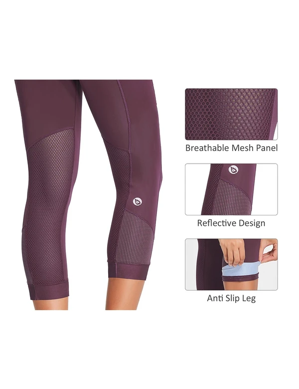 female high waisted 3d chamois padded mesh pocketed 3/4 cycling capris age group adult Clothing baleaf