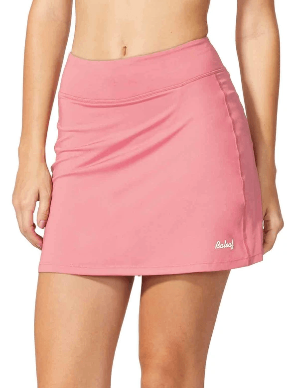 "female mid-rise 4.4"" 2-in-1 pocketed gym & outdoor sports skirt age group adult Clothing baleaf Light Pink XS"