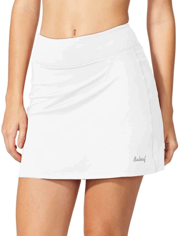 "female mid-rise 4.4"" 2-in-1 pocketed gym & outdoor sports skirt age group adult Clothing baleaf White XS"
