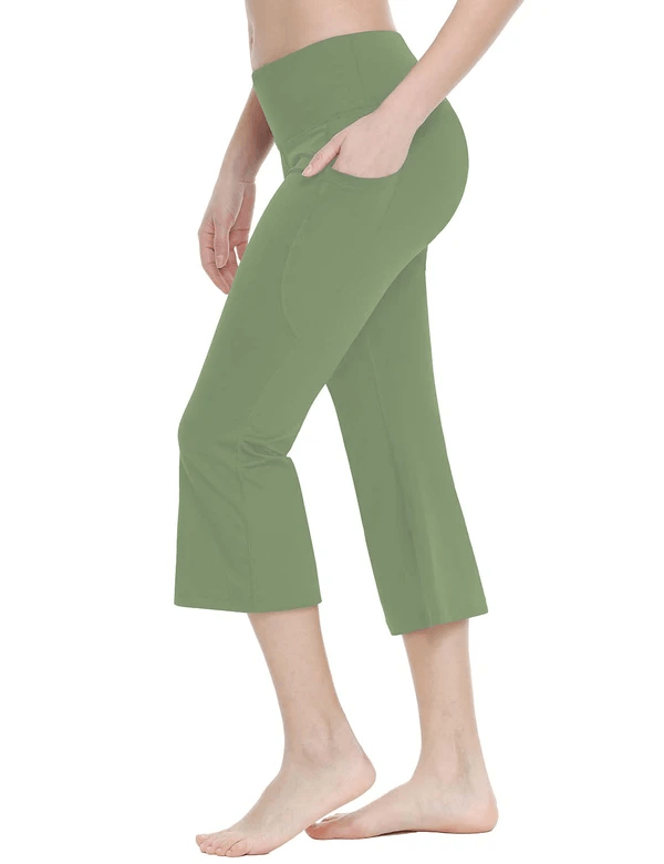female mid rise side & hidden pocketed bootleg basic capris age group adult Clothing Lightones