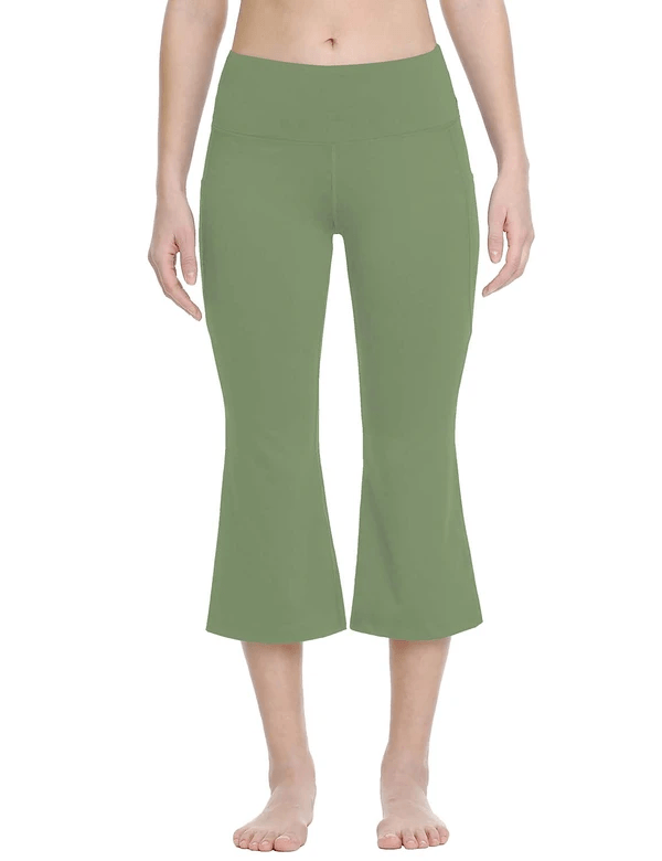 female mid rise side & hidden pocketed bootleg basic capris age group adult Clothing Lightones Olive Green S