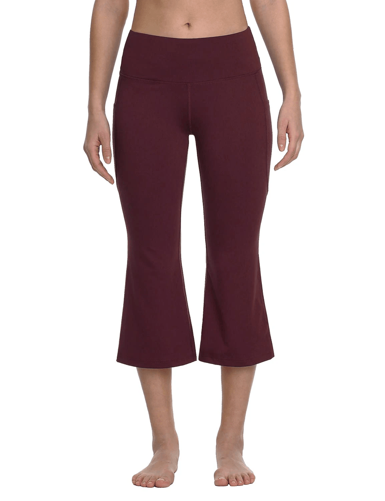 female mid rise side & hidden pocketed bootleg basic capris age group adult Clothing Lightones Ruby Wine S