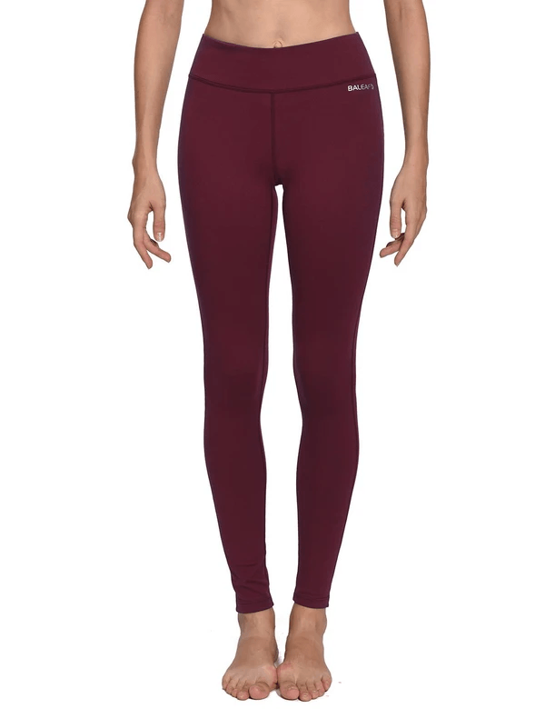 female mid-rise solid color hidden pocket knitted leggings age group adult Clothing baleaf Ruby Wine XS