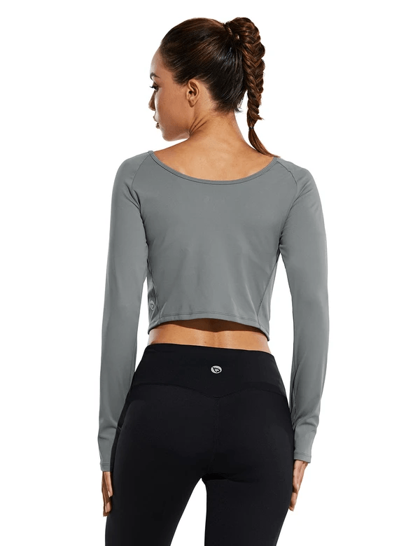 female raglan scoop neck long sleeved crop top w thumbholes age group adult Clothing baleaf