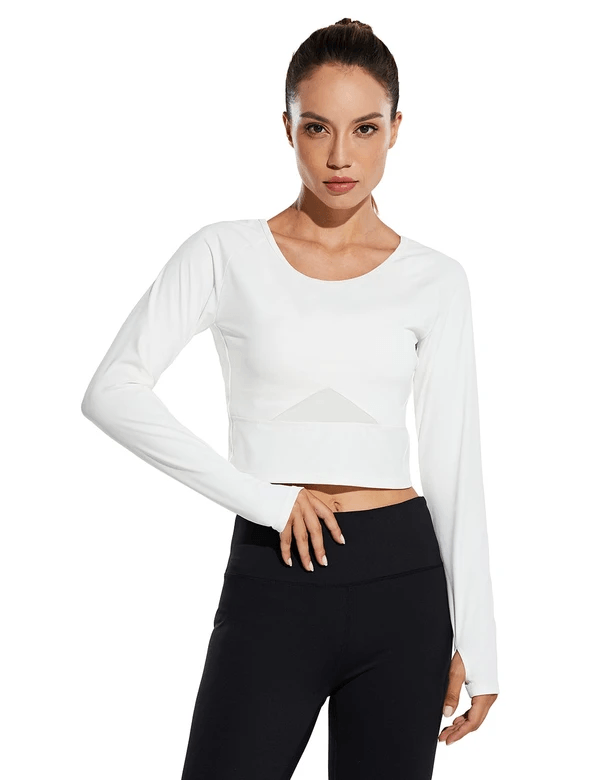female raglan scoop neck long sleeved crop top w thumbholes age group adult Clothing baleaf White S