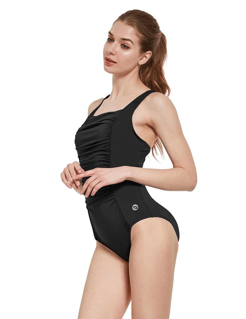 female ruched front quick-dry one piece bathing suit age group adult Clothing Lightones Black XS