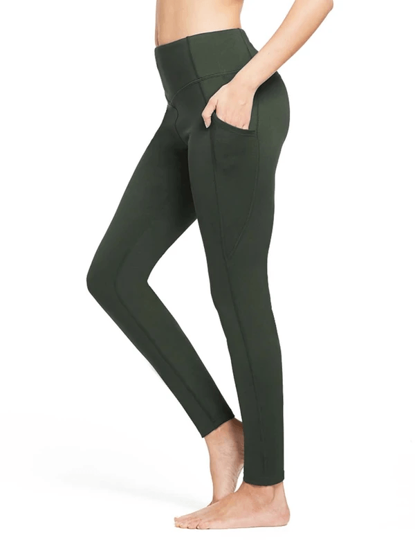 female thermal high rise fleece lined contour leggings age group adult Clothing baleaf Army Green XS