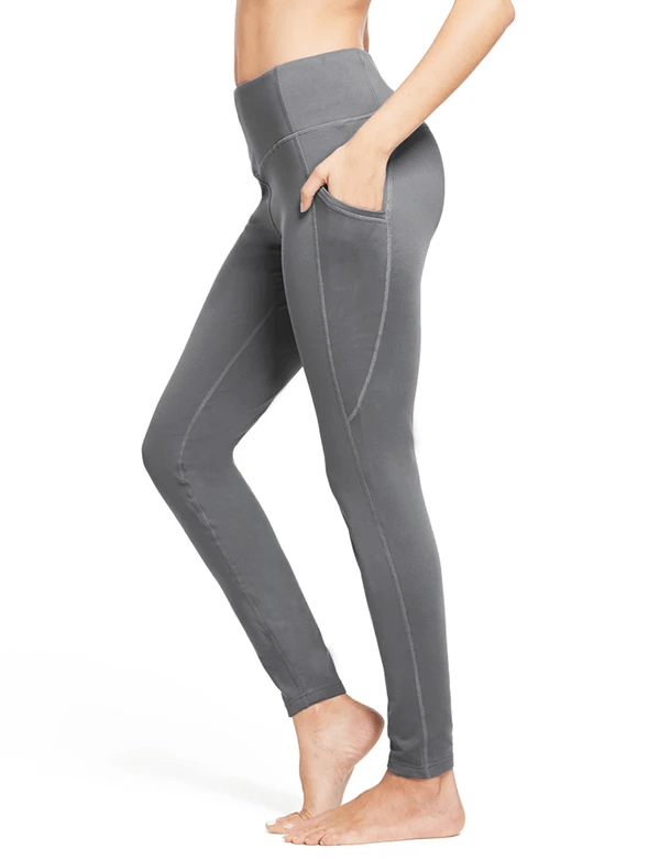 female thermal high rise fleece lined contour leggings age group adult Clothing baleaf Gray XS