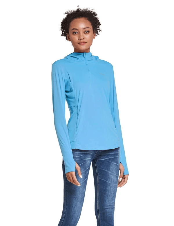 female upf 50+ 1/4 zipper hooded comfort fit long sleeved shirt w thumbholes age group adult Clothing baleaf Blue S