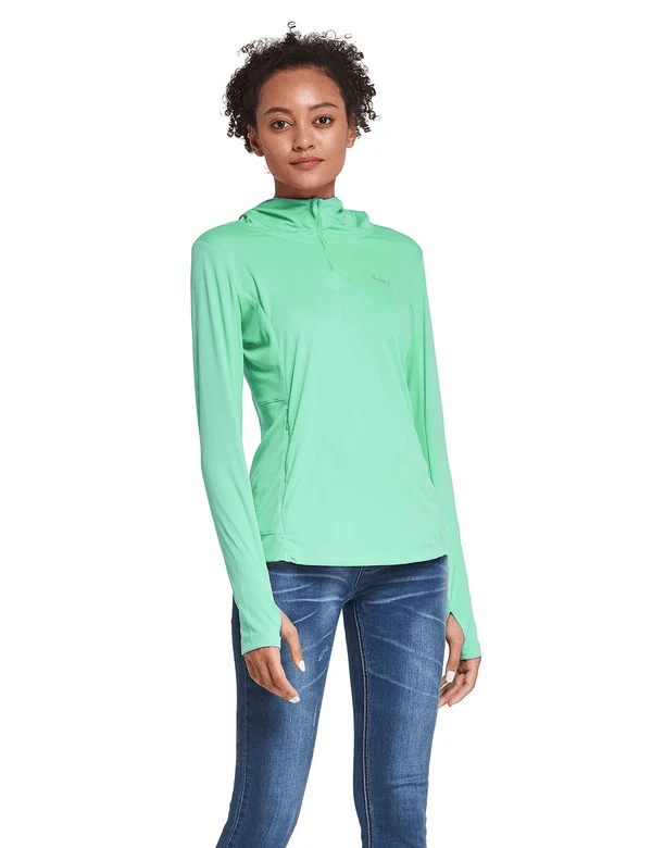 female upf 50+ 1/4 zipper hooded comfort fit long sleeved shirt w thumbholes age group adult Clothing baleaf Light Green S