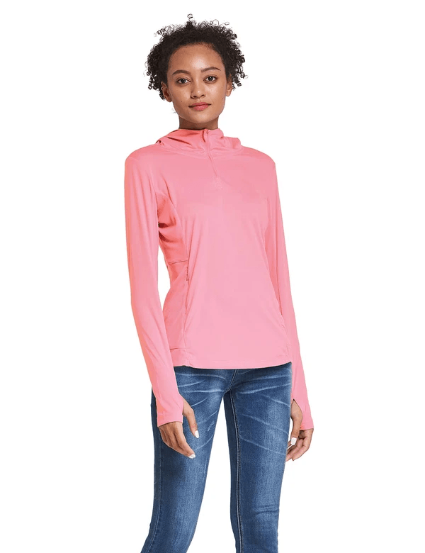 female upf 50+ 1/4 zipper hooded comfort fit long sleeved shirt w thumbholes age group adult Clothing baleaf Pink S