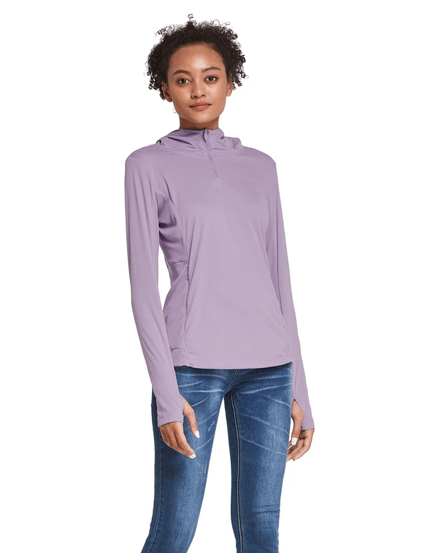 female upf 50+ 1/4 zipper hooded comfort fit long sleeved shirt w thumbholes age group adult Clothing baleaf Purple S