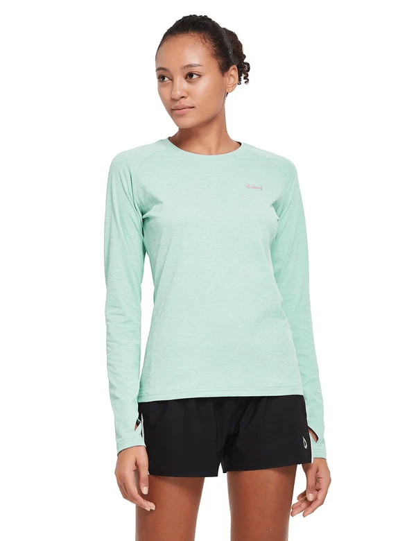 female upf 50+ raglan quick dry seamless long sleeved shirt age group adult Clothing baleaf Aqua S
