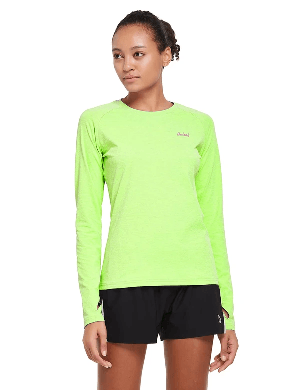 female upf 50+ raglan quick dry seamless long sleeved shirt age group adult Clothing baleaf Fluorescent Yellow S