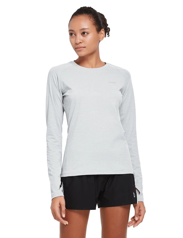 female upf 50+ raglan quick dry seamless long sleeved shirt age group adult Clothing baleaf Gray S