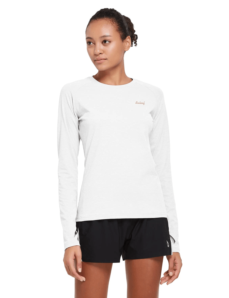 female upf 50+ raglan quick dry seamless long sleeved shirt age group adult Clothing baleaf White S