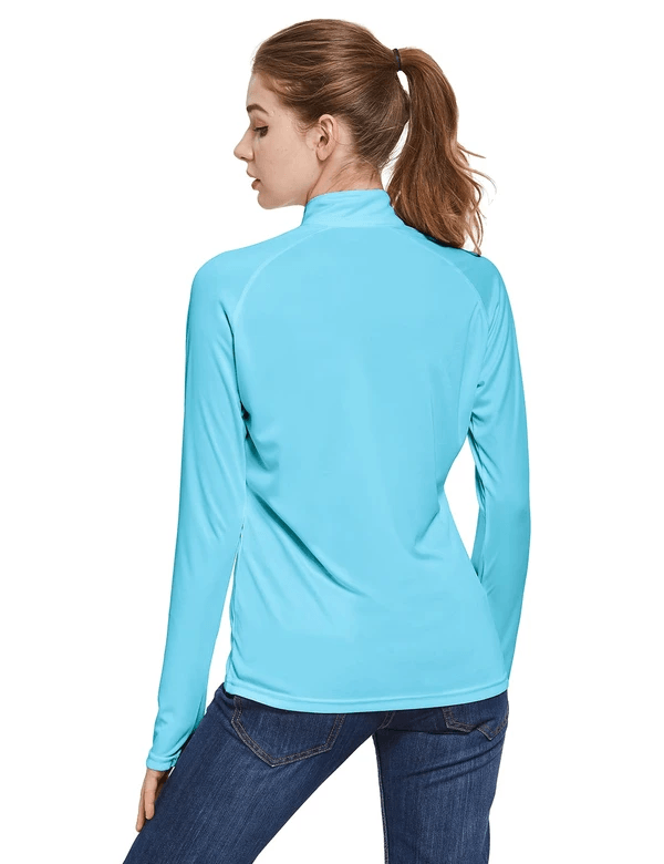 female upf50+ collared long sleeved comfort fit t-shirt w thumbholes age group adult Clothing baleaf