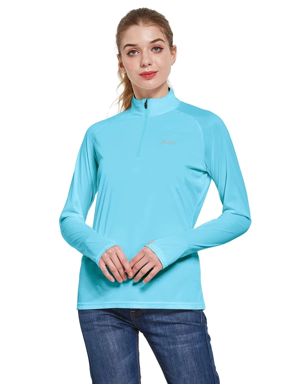 female upf50+ collared long sleeved comfort fit t-shirt w thumbholes age group adult Clothing baleaf Blue S