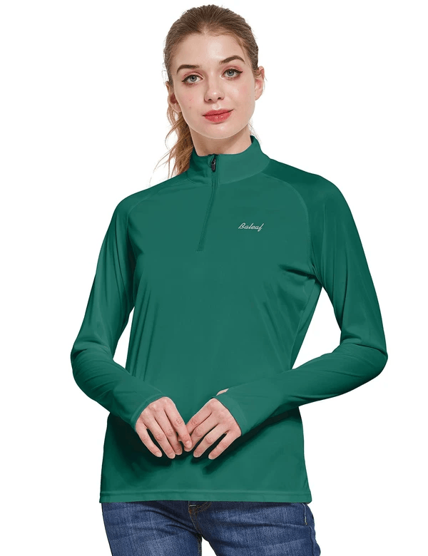 female upf50+ collared long sleeved comfort fit t-shirt w thumbholes age group adult Clothing baleaf Dark Green S