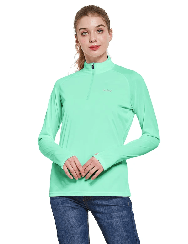 female upf50+ collared long sleeved comfort fit t-shirt w thumbholes age group adult Clothing baleaf Light Green S