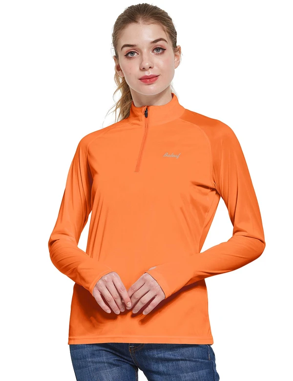 female upf50+ collared long sleeved comfort fit t-shirt w thumbholes age group adult Clothing baleaf Orange S