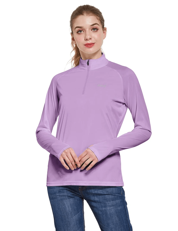 female upf50+ collared long sleeved comfort fit t-shirt w thumbholes age group adult Clothing baleaf Purple S