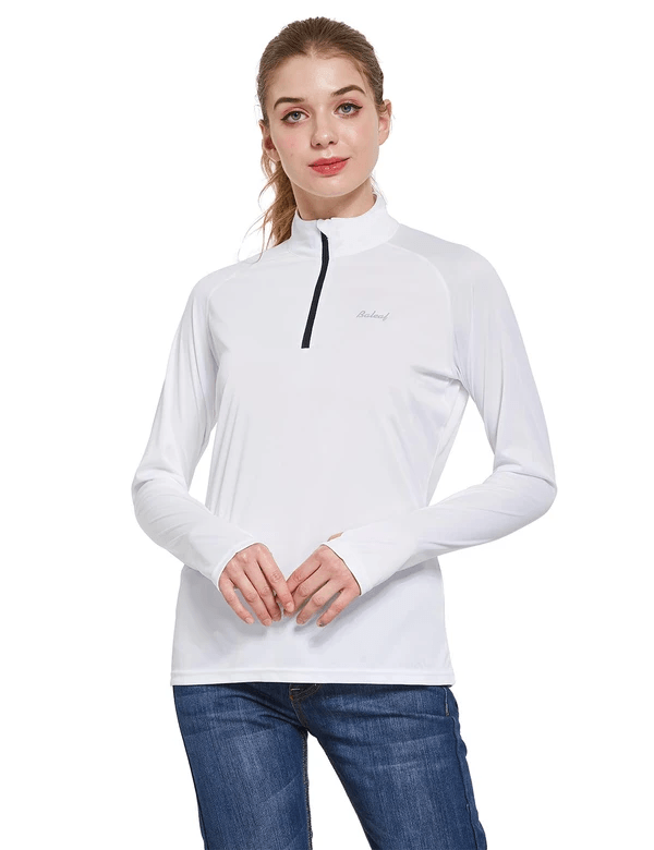 female upf50+ collared long sleeved comfort fit t-shirt w thumbholes age group adult Clothing baleaf White S