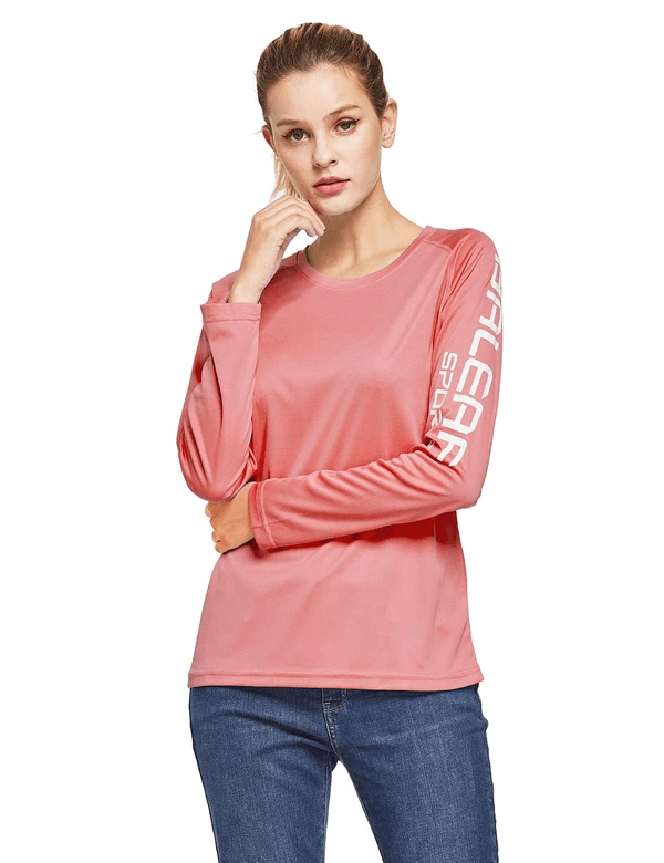 female upf50+ long sleeved round neck casual t-shirt age group adult Clothing baleaf